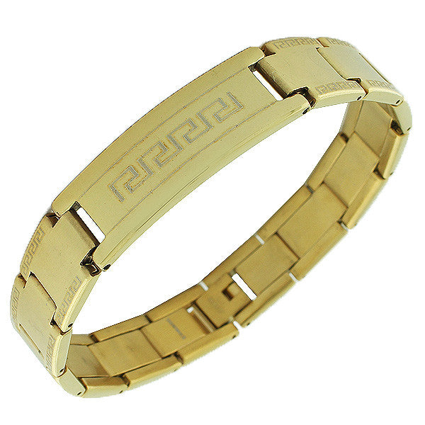 Stainless Steel Yellow Gold-Tone Link Chain Greek Key Men's Bracelet