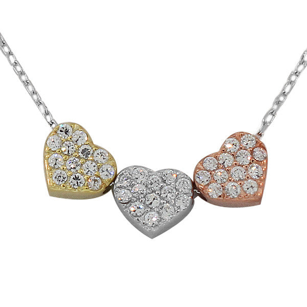 925 Sterling Silver Gold Triple Love Heart Charm CZ Pendant Necklace