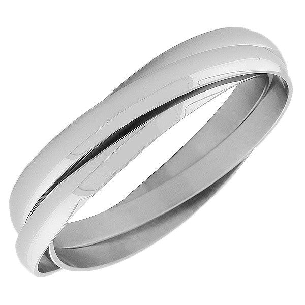 Stainless Steel Silver-Tone Three Interlocked Bangle Bracelets