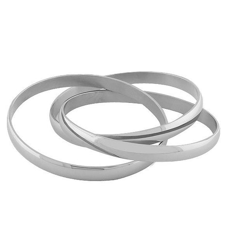 Polished Silver Interlocking Bracelets