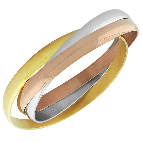 Stainless Steel Gold-Tone Silver-Tone Interlocked Bangle Bracelets