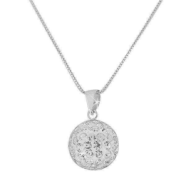 925 Sterling Silver White CZ Bead Ball Pendant Necklace