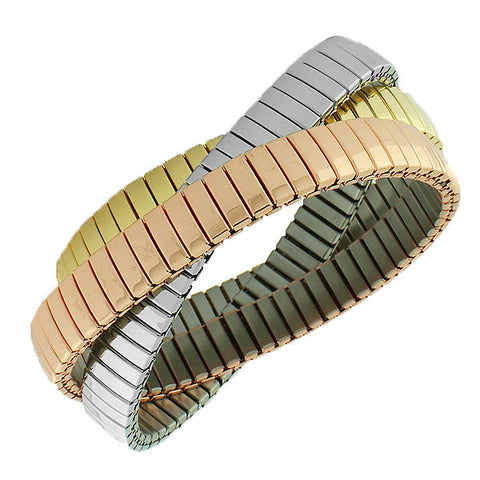 Stainless Steel Silver-Tone Gold-Tone Three Interlocked Stretch Bracelets
