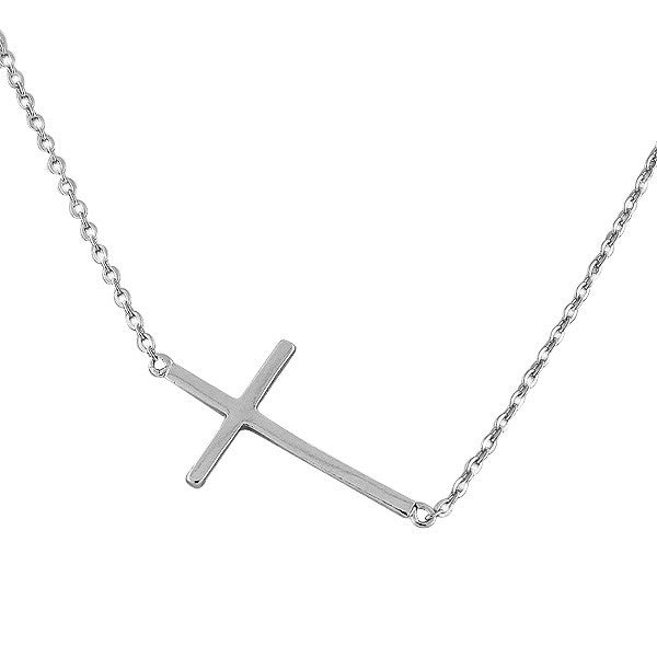Stainless Steel Silver-Tone Sideways Cross Pendant Necklace