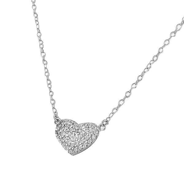 Wide Heart Necklace Pendant Sterling Silver Cubic Zirconia