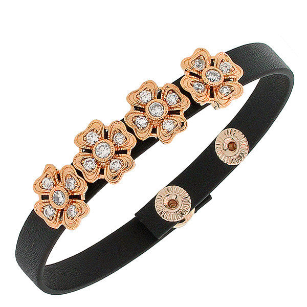 Fashion Alloy Black Leather Rose Gold-Tone White CZ Flowers Floral Design Wristband Adjustable Bracelet