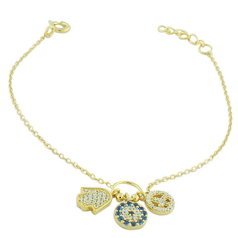 925 Sterling Silver Yellow Gold-Tone Hamsa Evil Eye Peace Link Chain Bracelet