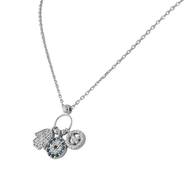Hamsa Evil Eye Peace Charm Necklace Pendant Sterling Silver Cubic Zirconia