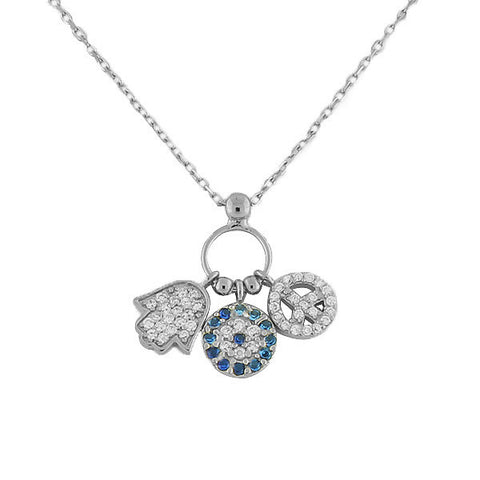 925 Sterling Silver Hamsa Evil Eye Peace Flower Chain Pendant Necklace