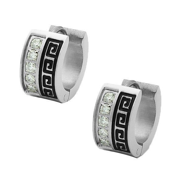 Stainless Steel Silver-Tone White CZ Greek Key Hoop Huggie Earrings