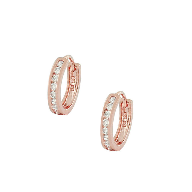 925 Sterling Silver Rose Gold-Tone White CZ Hoop Huggie Earrings