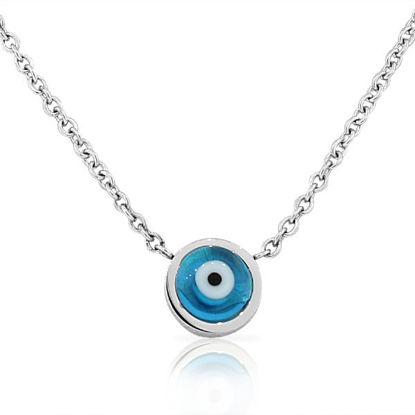 EDFORCE Stainless Steel Blue Silver-Tone Hamsa Evil Eye Link Chain Pendant Necklace