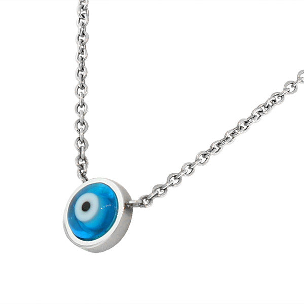 Classic Sky Blue Evil Eye Necklace Stainless Steel