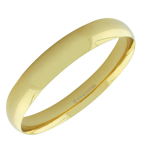 Stainless Steel Yellow Gold-Tone Classic Bangle Bracelet