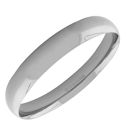 Stainless Steel Silver-Tone Classic Bangle Bracelet