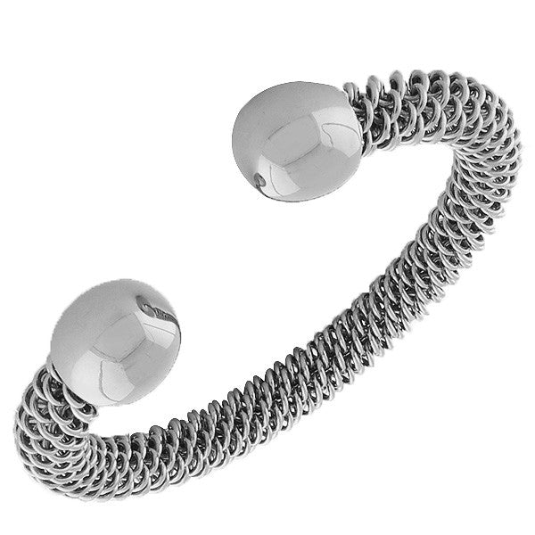 Stainless Steel Silver-Tone Open End Mesh Bangle Bracelet