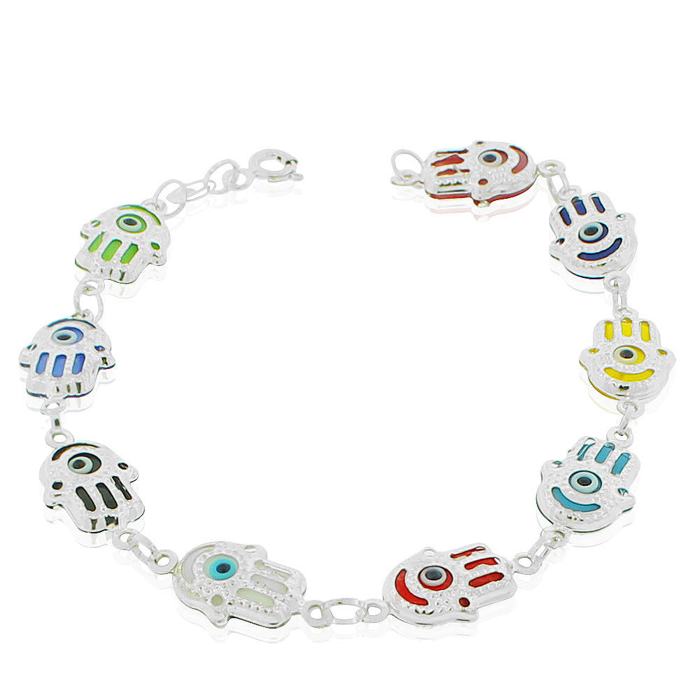 925 Sterling Silver Multicolor Hamsa Hand Good Luck Link Chain Bracelet