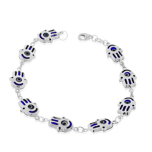 925 Sterling Silver Blue Hamsa Hand Good Luck Link Chain Bracelet