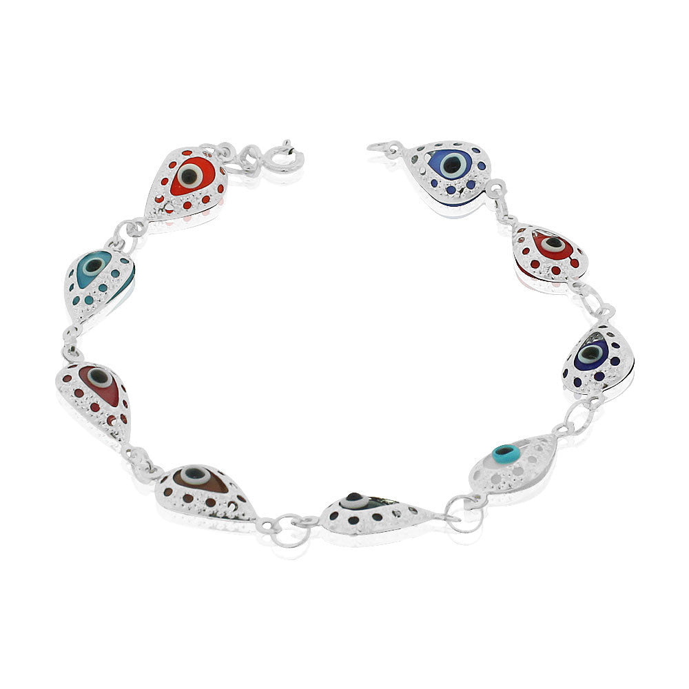 925 Sterling Silver Multicolor Evil Eye Protection Link Chain Bracelet