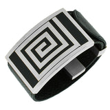 Stainless Steel Silver-Tone Black Leather Wristband Bracelet