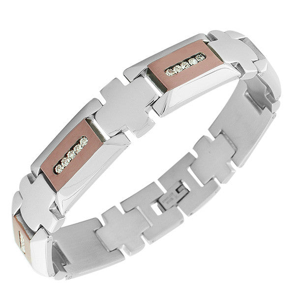 Stainless Steel Silver-Tone Rose Gold-Tone White CZ Link Chain Men's Bracelet