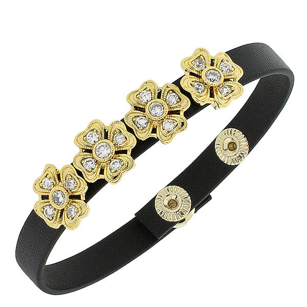 Fashion Alloy Black Leather Yellow Gold-Tone White CZ Flowers Floral Design Wristband Adjustable Bracelet