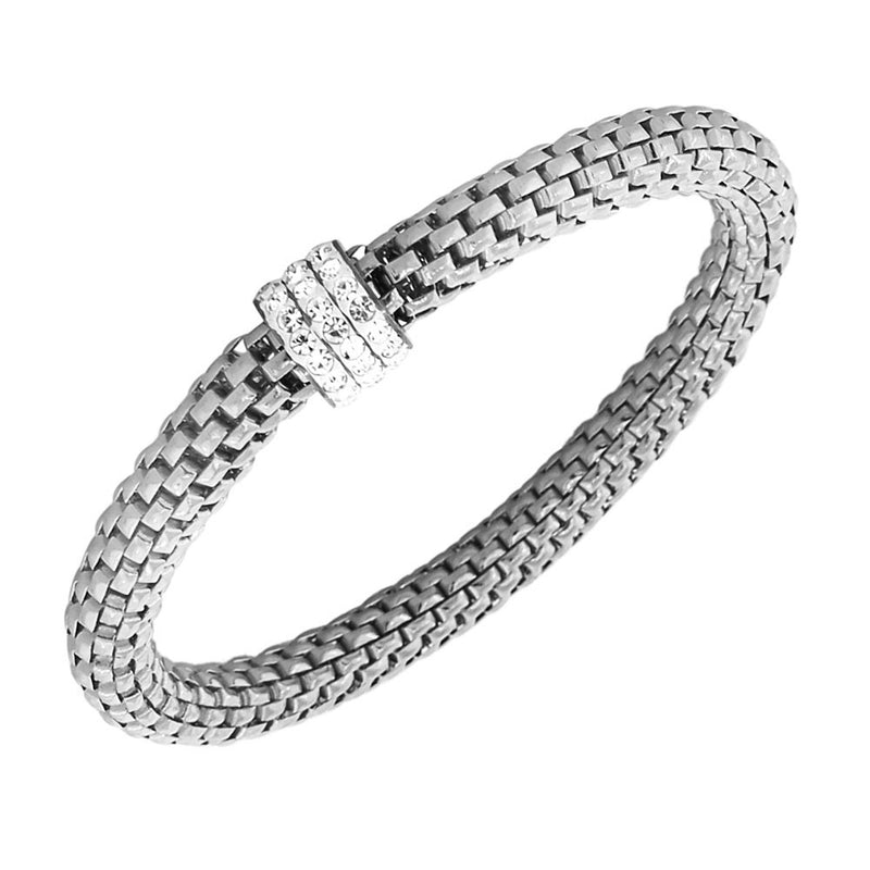 EDFORCE Stainless Steel Silver-Tone White CZ Stretch Bracelet