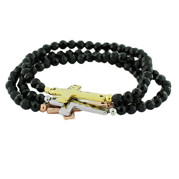 Stainless Steel Black Beads Gold-Tone Silver-Tone Cross Three Stretch Bracelets Set