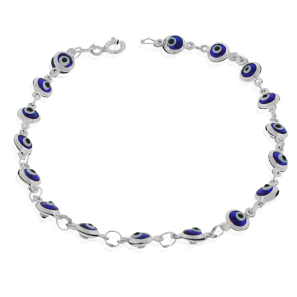 925 Sterling Silver Blue Evil Eye Protection Link Chain Bracelet