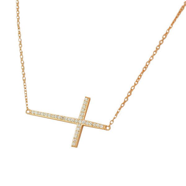 Gold Sideways Cross Necklace Sterling Silver Cubic Zirconia