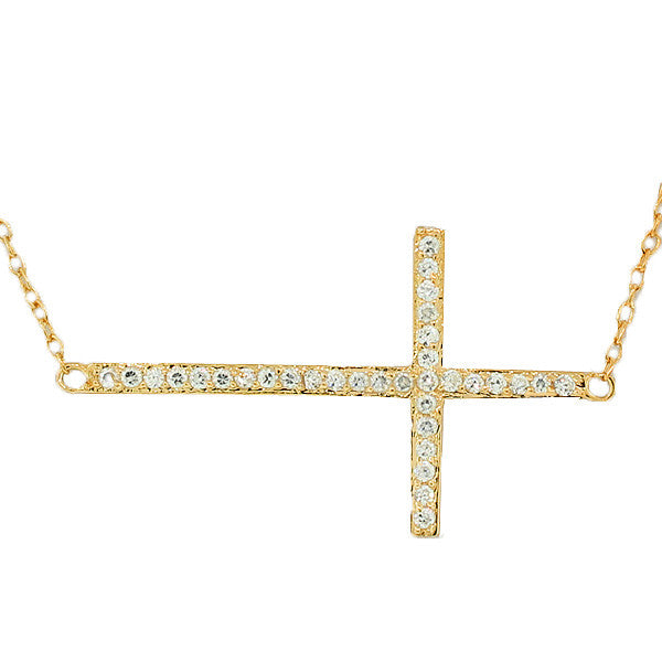 925 Sterling Silver-Tone Rose Gold-Tone Sideways Cross CZ Pendant Necklace