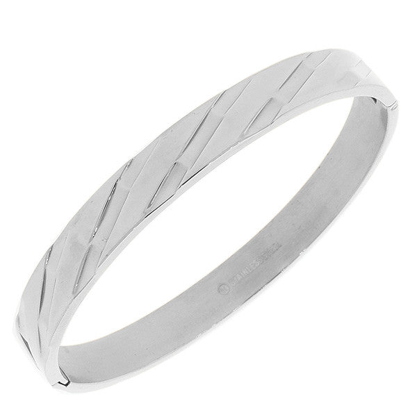 Stainless Steel Silver-Tone Faceted Bangle Bracelet