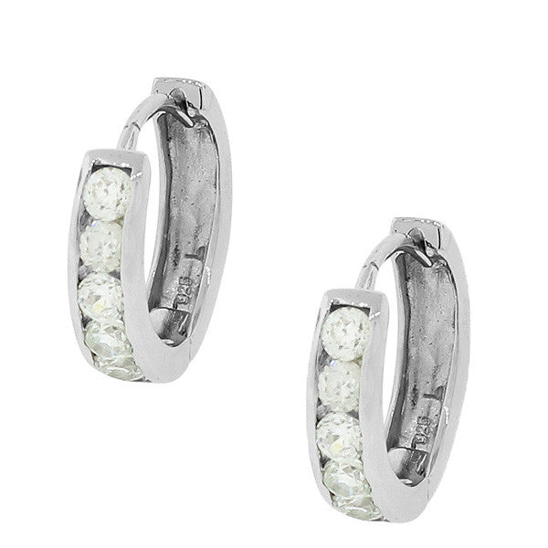 925 Sterling Silver White CZ Hoop Huggie Earrings