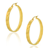 Stainless Steel Yellow Gold-Tone Classic Round Hoop Earrings