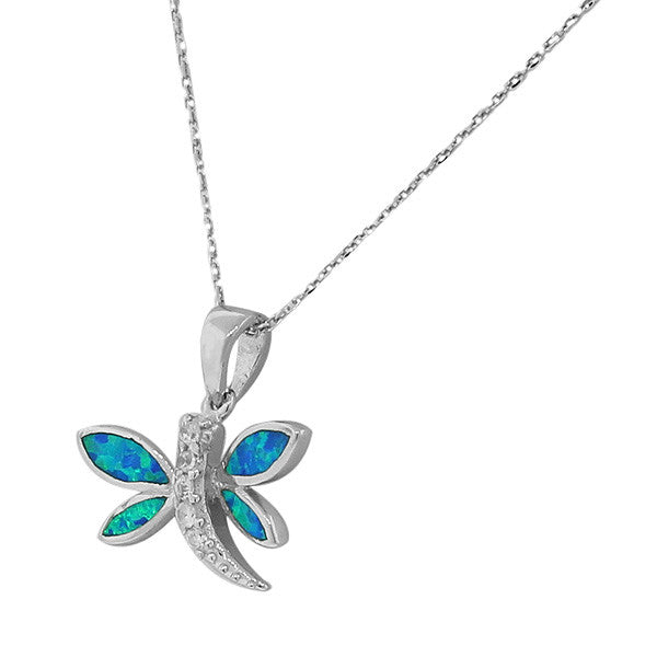 Opal Dragonfly Pendant