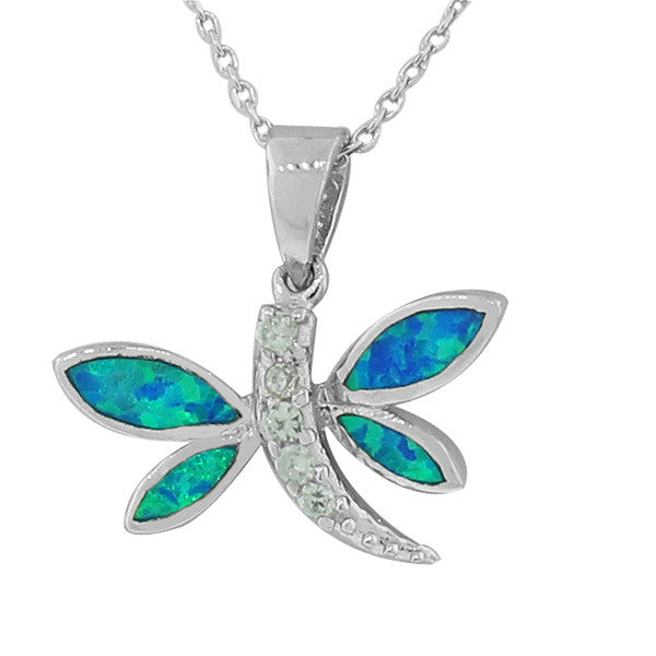 925 Sterling Silver Blue Turquoise-Tone Simulated Opal Dragonfly Pendant Necklace