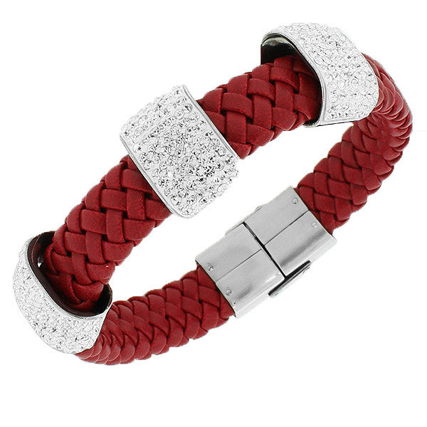 Stainless Steel Red Leather White CZ Bracelet