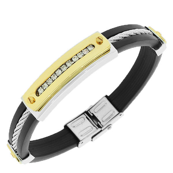 Stainless Steel Black Rubber Silicone Two-Tone White CZ Men's Bracelet