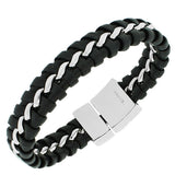 Stainless Steel Black Leather Silver-Tone Braided Link Chain Men's Bracelet