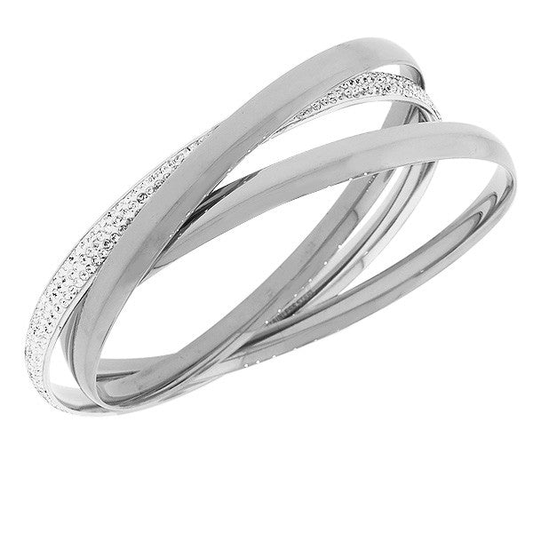Stainless Steel Silver-Tone White CZ Three Interlocked Bangle Bracelets Set