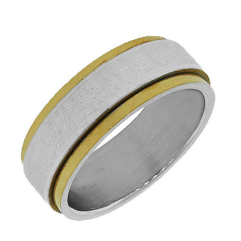 Stainless Steel Gold Silver-Tone Lords Prayer Spanish Padre Nuestro Spinner Ring Band - Size 13
