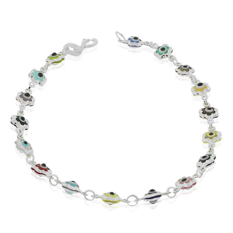 925 Sterling Silver Multicolor Evil Eye Protection Flower Link Chain Bracelet