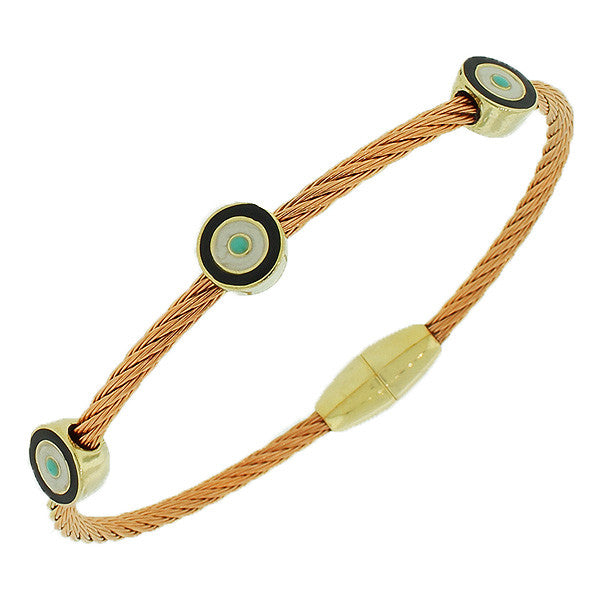 Fashion Alloy Rose Gold-Tone Twisted Cable Multicolor Evil Eye Bangle Bracelet
