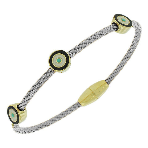 Fashion Alloy Silver-Tone Twisted Cable Multicolor Evil Eye Bangle Bracelet