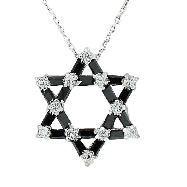 925 Sterling Silver Jewish Star David Black White Pendant Necklace