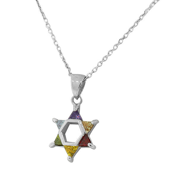 Rainbow Star of David Pendant Sterling Silver