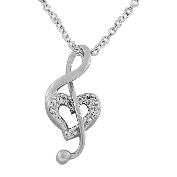 925 Sterling Silver Love Heart Music Note Clef White CZ Pendant Necklace