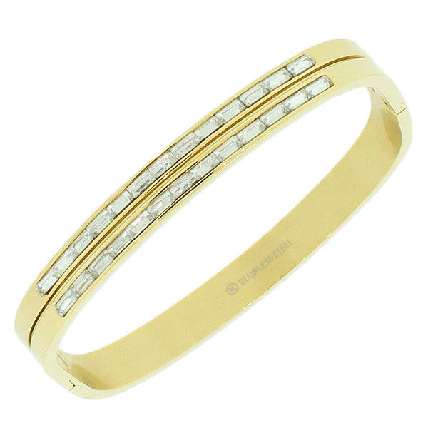 Stainless Steel Yellow Gold-Tone White Baguette CZ Bangle Bracelet
