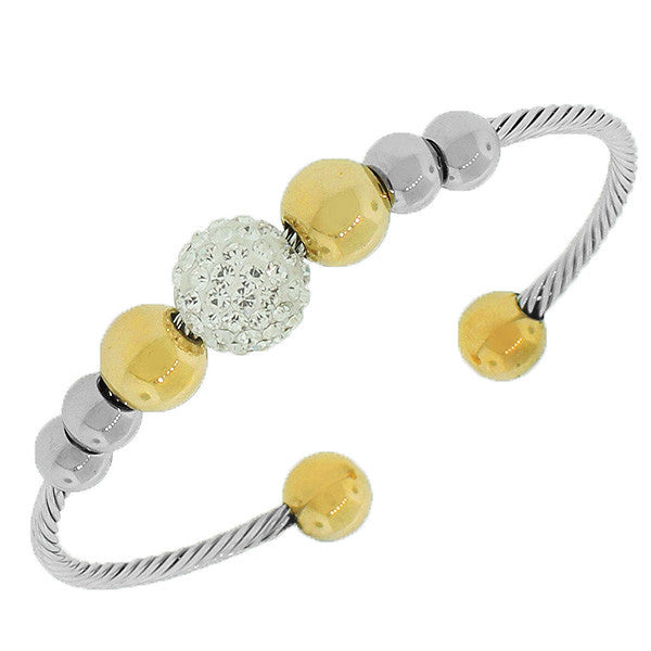 Stainless Steel Silver-Tone Yellow Gold-Tone White CZ Open End Bracelet