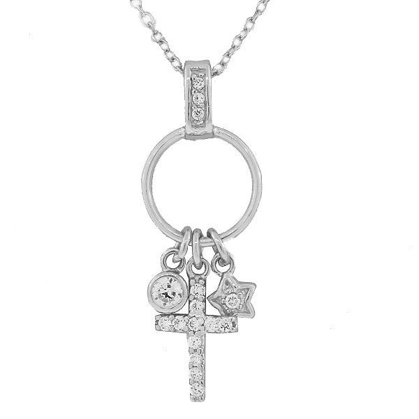 925 Sterling Silver White CZ Latin Cross Star Charms Link Chain Necklace